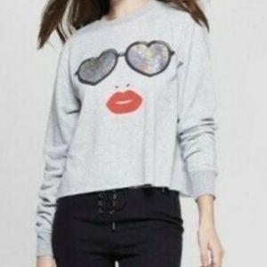 Mighty Fine Cropped Sweatshirt Sunglasses Lips